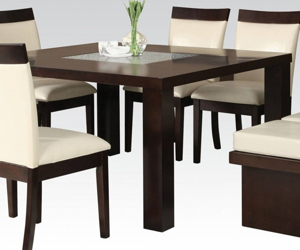 Keelin Casual Espresso Wood Crackle Glass Dining Table ACM-71035