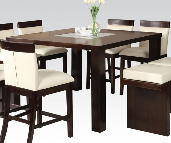 Keelin Contemporary Espresso Wood Glass Counter Height Table ACM-71040