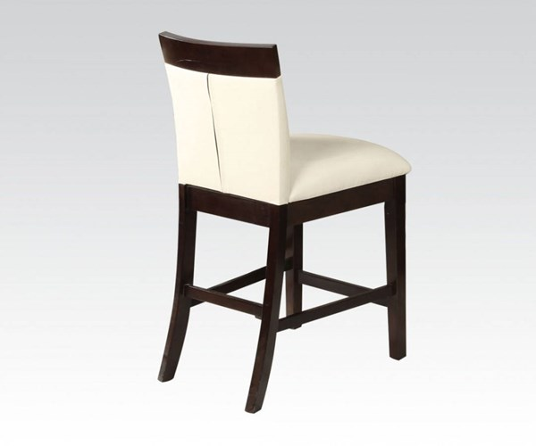 2 Keelin Contemporary Beige Espresso PU Wood Counter Height Chairs ACM-71043