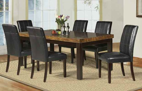 Deisy Casual Brown Espresso Faux Marble Wood PU 7pc Dining Room Set ACM-71055-S