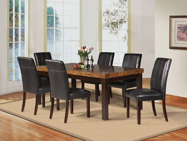 Deisy Casual Brown Espresso Wood Faux Marble PU Dining Room Set ACM-71055-DR