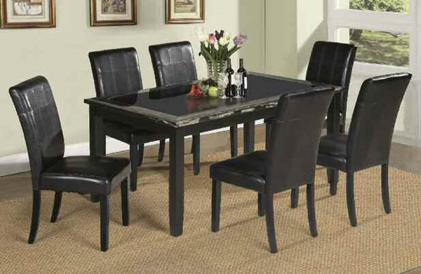 Blythe Casual Black Brown Faux Marble Wood PU 7pc Dining Room Set ACM-71060-S