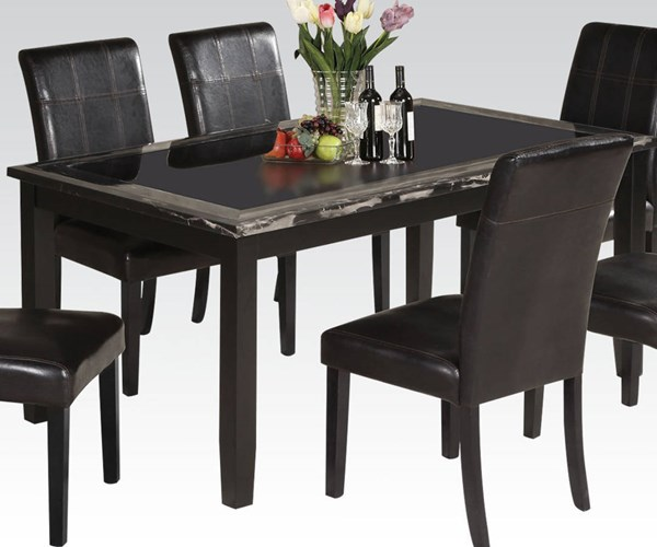 Blythe Casual Black Wood Glass Faux Marble Dining Table ACM-71060