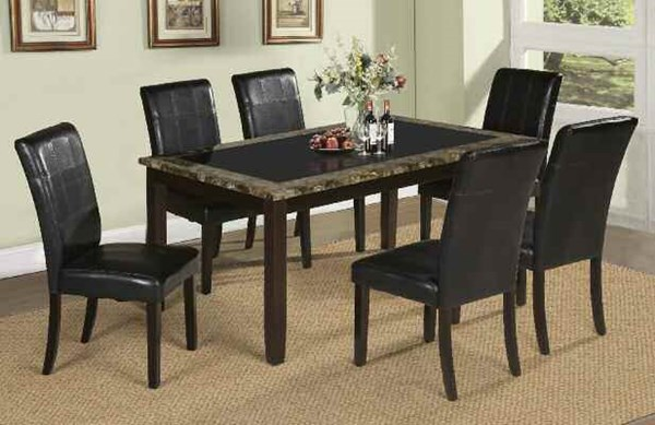 Rolle Casual Brown Espresso Faux Marble Wood PU 7pc Dining Room Set ACM-71065-S