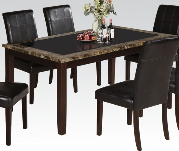 Rolle Casual Espresso Wood Glass Faux Marble Dining Table ACM-71065