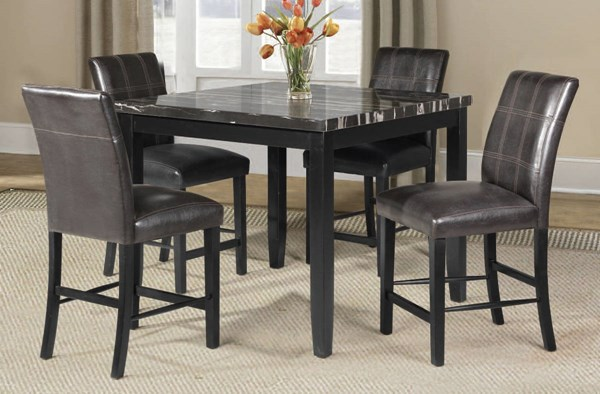 Blythe Brown Black Wood PU Faux Marble 5pc Counter Height / Bar Set ACM-71070-S