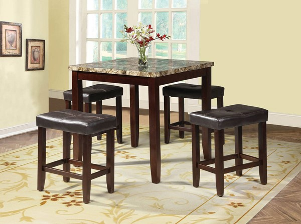 Rolle Espresso Wood PU 5pc Pack Counter Height Set ACM-71090