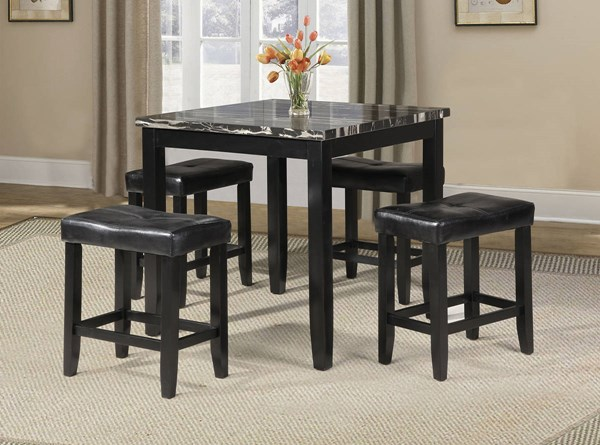 Blythe Black Wood PU 5pc Pack Counter Height Set ACM-71095