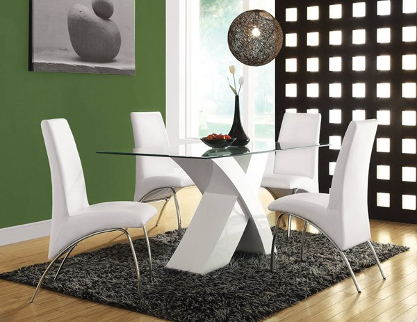 Pervis White Chrome Glass Metal PU 5pc Dining Room Set ACM-71105-S