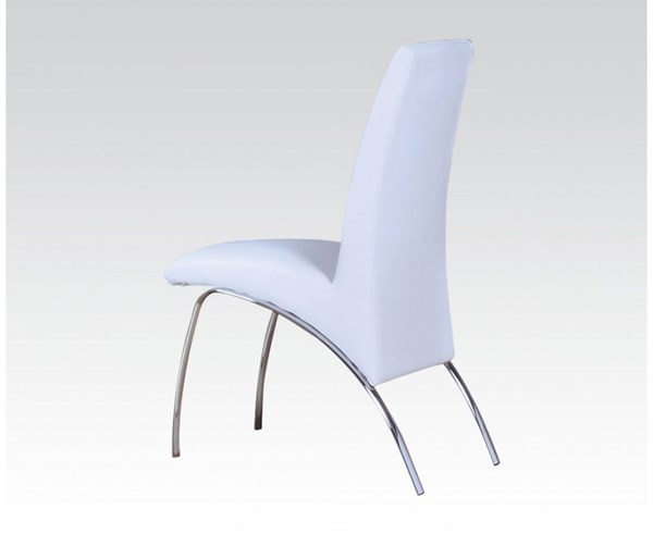 2 Pervis Casual White Chrome PU Metal Side Chairs ACM-71107