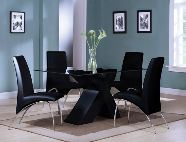 Pervis Casual Black Chrome Metal Wood With Clear Glass Dining Room Set ACM-71110-D
