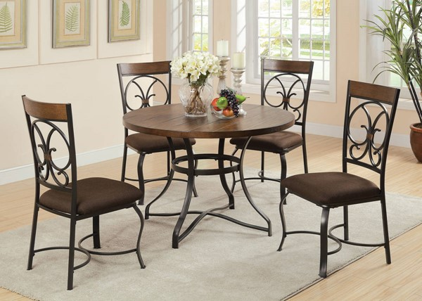 Jassi Casual Dark Cherry Black Metal Wood Dining Table Set ACM-71120-DR
