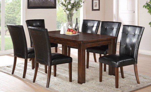 Easton Casual Black Brown Cherry PU Wood 7pc Dining Room Set ACM-71140-30-DR-S