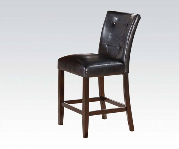 2 Easton Brown Cherry Wood Black PU Counter Height Chairs ACM-71147A
