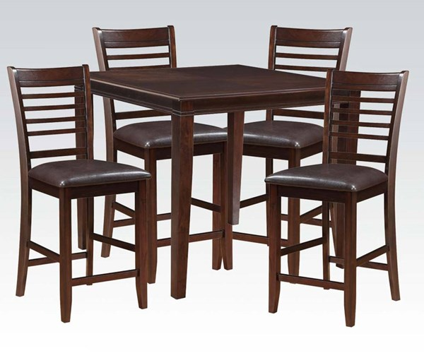 Pasha Espresso Wood PU 5pc Pack Counter Height Set ACM-71195