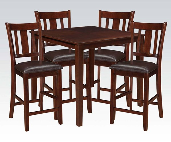 Odran Espresso Wood PU 5pc Pack Counter Height Set ACM-71220