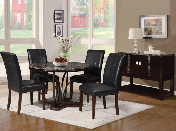 Amelia Brown Espresso Faux Marble Wood Metal 5pc Dining Room Set ACM-71240-067-DR-S