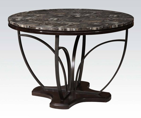 Amelia Casual Espresso Faux Marble Wood Metal Round Dining Table ACM-71240