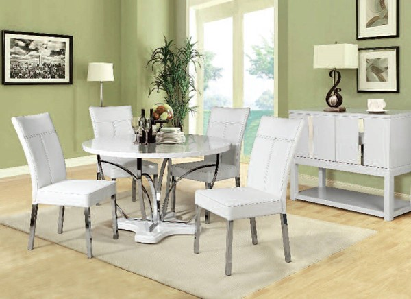Ezra Casual White Chrome Metal Wood 5pc Dining Room Set ACM-71245-254-DR-S
