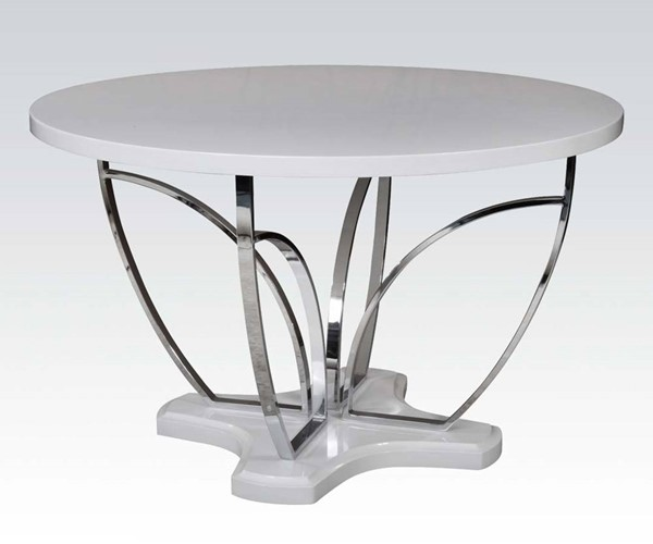 Ezra Casual White Chrome Wood Metal Dining Table ACM-71245
