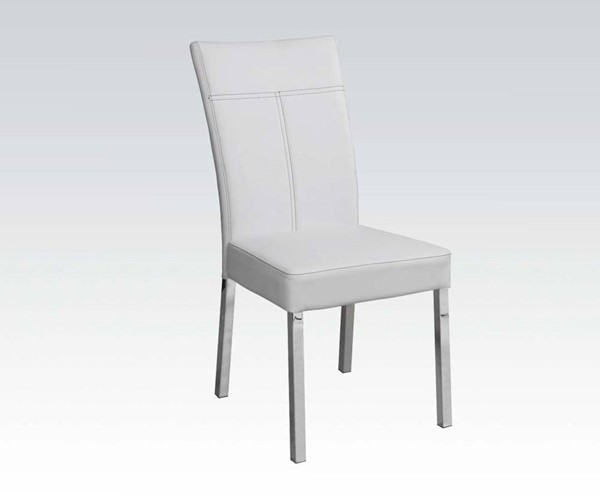 4 Danny Casual White Chrome PU Metal Armless & Solid Back Side Chairs ACM-71254