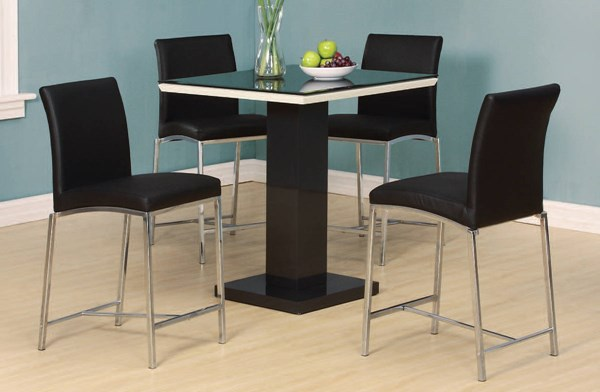 Norwin Black White Glass Wood Metal 5pc Counter Height / Bar Set ACM-71310-13-BAR-S