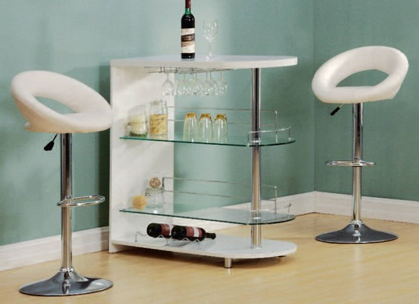Yashvin White Chrome Wood Metal Glass 3pc Counter Height / Bar Set ACM-71315-17726-BAR-S