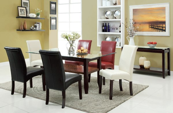Ripley Casual Espresso Red Ivory Wood Glass PU 7pc Dining Room Set ACM-71360-DR-S