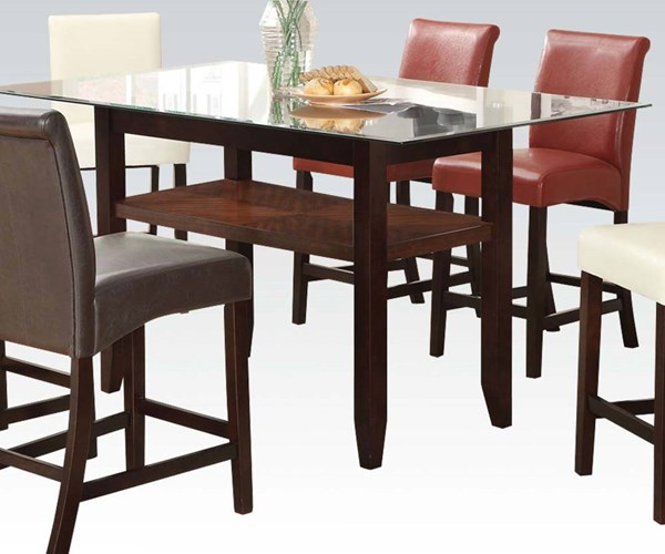 Ripley Espresso Wood Glass Counter Height Table ACM-71370