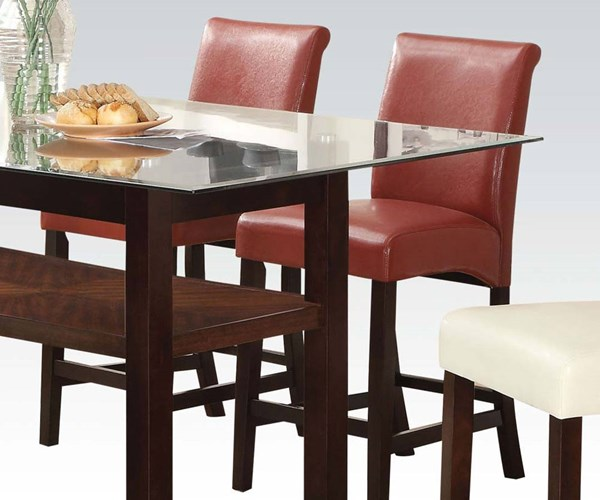 2 Acme Furniture Ripley Red Counter Height Chairs