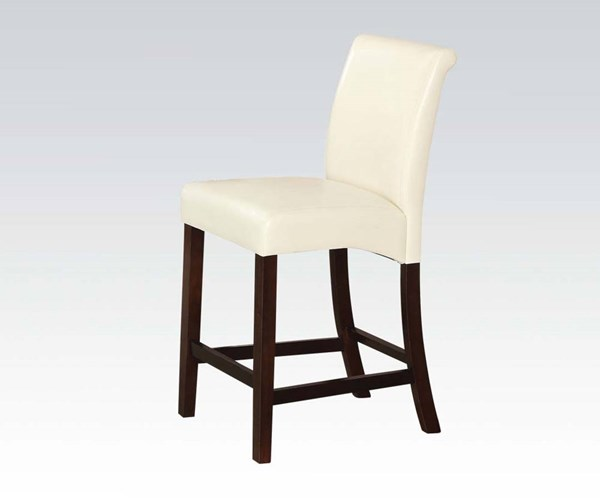 2 Ripley Ivory Espresso Wood PU Counter Height Chairs ACM-71375