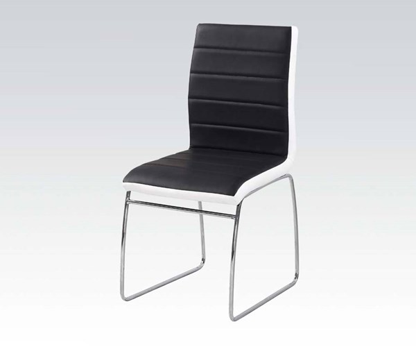 6 Hayden Casual Black White Chrome Metal PU Side Chairs ACM-71392