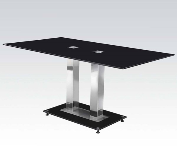 Jercy Casual Chrome Black Metal Glass Dining Table ACM-71400