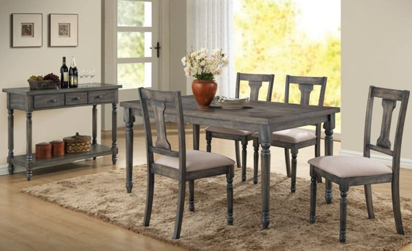 Wallace Casual Blue Gray Wood Fabric Dining Room Set ACM-71435-DR