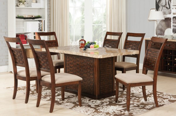Maite Casual Light Brown Walnut Marble Wood Fabric Dining Room Set ACM-71510-DR
