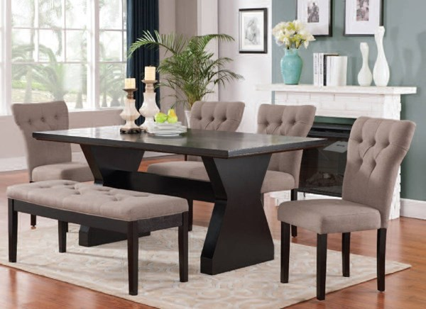 Effie Contemporary Red Brown Beige Gray Linen 6pc Dining Room Sets ACM-71515-21-40-DR-S-VAR