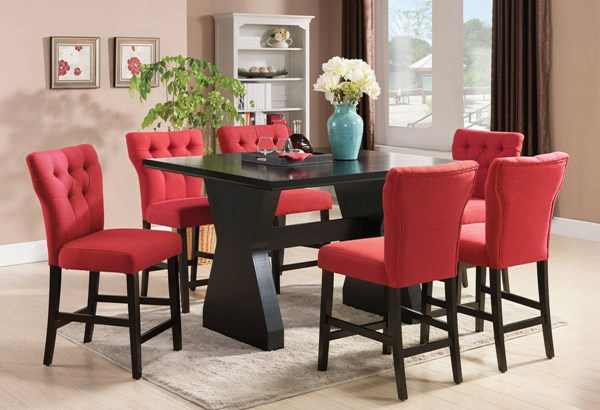 Effie Contemporary Red Fabric Wood 7pc Counter Height / Bar Sets ACM-7152-BAR-S-VAR