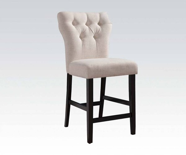 2 Effie Contemporary Beige Fabric Walnut Wood Counter Height Chairs ACM-71527A