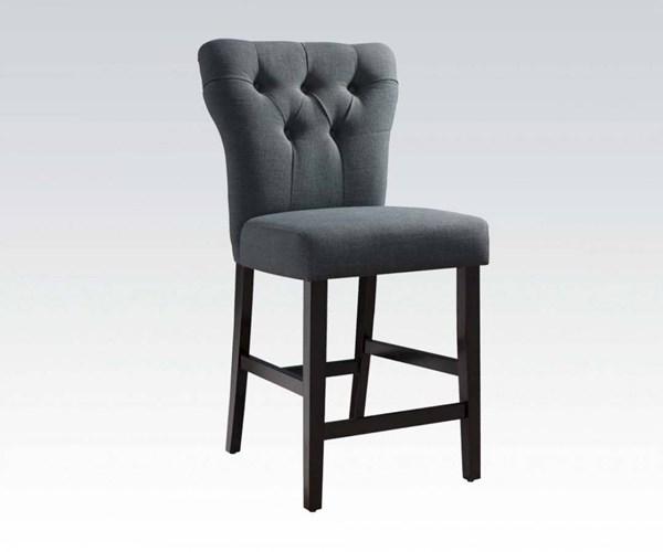 2 Effie Contemporary Gray Fabric Walnut Wood Counter Height Chairs ACM-71528A