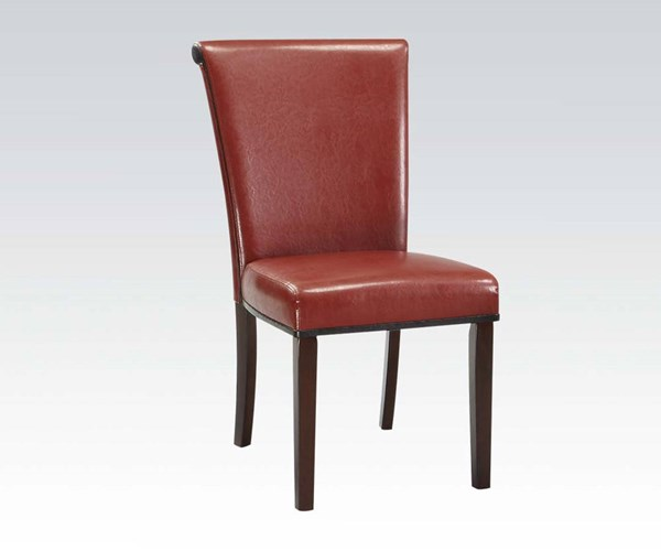 2 Jafar Casual Red Espresso Wood PU Side Chairs ACM-71533