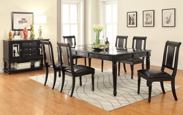 Caree Traditional Black Wood PU Dining Room Set ACM-71550-52-DR