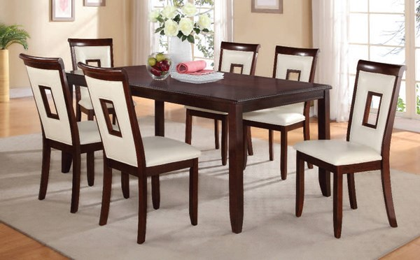 Oswell Casual Cherry Wood PU 7pc Dining Room Set ACM-71595-602-DR-S