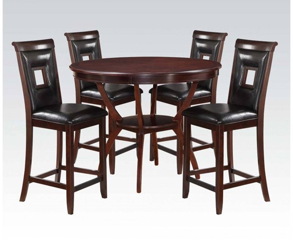 Oswell Black Cherry PU Wood 5pc Pack Counter Height Set ACM-71599