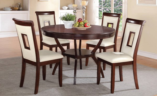 Oswell Casual Cherry Wood PU 5pc Dining Room Set ACM-71600-602-DR-S