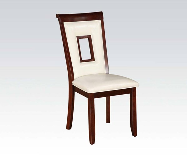 2 Oswell Casual Cherry Wood PU Armless Side Chairs ACM-71602-DR-CH-VAR