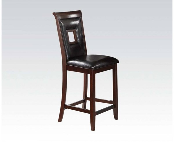 2 Oswell Black Cherry PU Wood Counter Height Chairs ACM-71608