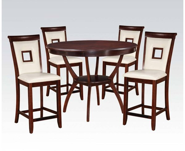 Oswell Cherry PU Wood 5pc Pack Counter Height Set ACM-71609