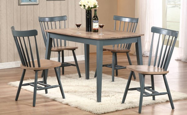 Margret Casual Brown Oak Blue Wood Dining Room Set ACM-71630-32-DR