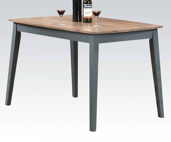 Margret Casual Brown Oak Blue Wood Dining Table ACM-71630