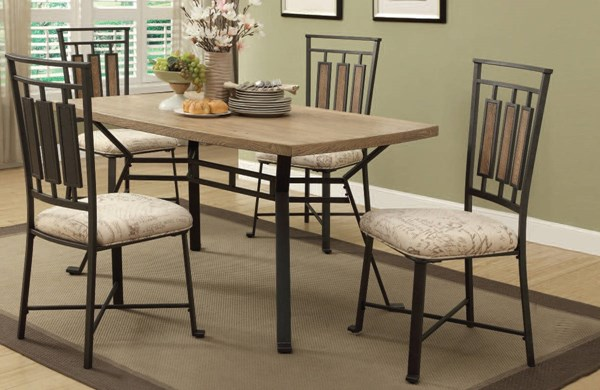 Dervon Casual Light Oak Gray Wood Metal Fabric Dining Room Set ACM-71650-52-DR